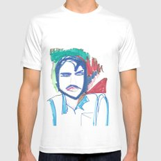 Male Man Mens Fitted Tee White MEDIUM