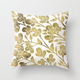 Cherry Blossoms – Gold Palette Throw Pillow