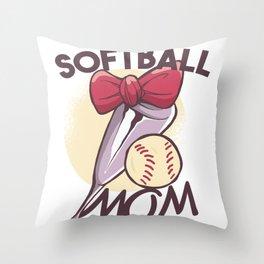 SOFTBALL MOM ART DESIGN Throw Pillow