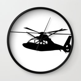 News Helicopter Silhouette Wall Clock