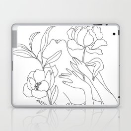 Minimal Line Art Woman with Peonies Laptop & iPad Skin