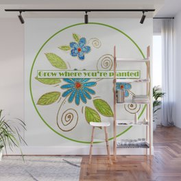 Golden Flowers - Grow where you're planted Wall Mural
