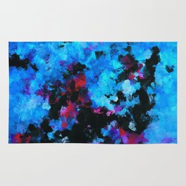 Teal (Blue) Abstract Acrylic Painting Rug
