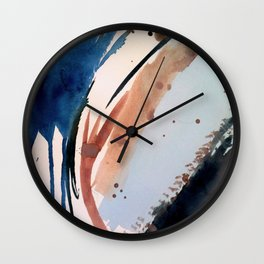 708 - a minimal mixed media abstract piece in blues, pinks, and white Wall Clock