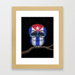 Baby Owl with Glasses and Cuban Flag Framed Art Print