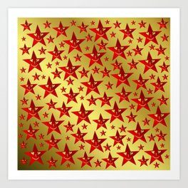 red, stars, face, laugh, smile, gold, pattern, colorful, christmas, motive, Art Print