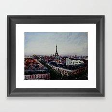 Paris Eiffel Tower Acrylics On Canvas Board Framed Art Print