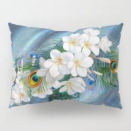 Peacocks - Feathers - White Flowers on Emerald Green Metallic Silk Pillow Sham