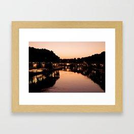 Tiber river at sunset Framed Art Print