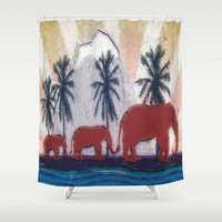 elephants Shower Curtains featuring Elephants by LoRo  Art & Pictures