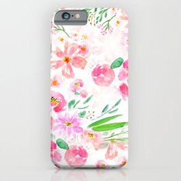 pink flowers and green leaf pattern  iPhone Case