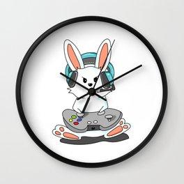 Gaming Bunny Gamer Rabit Headset Gamepad Gift Wall Clock