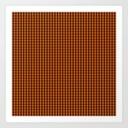 Dark Pumpkin Orange and Black Gingham Check Pattern Art Print