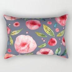 Peonies Blue Rectangular Pillow