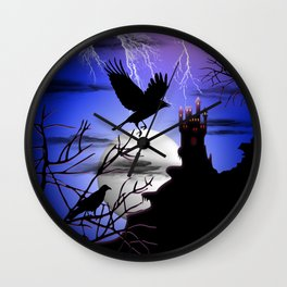 Raven's Haunted Castle Wall Clock