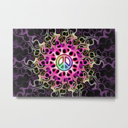 Gnarly Peace Waves Metal Print