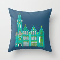 architecture Throw Pillows featuring Architecture by bluebutton studio