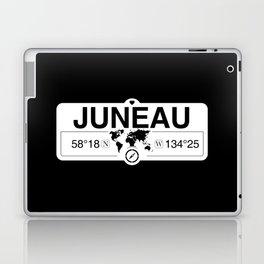 Juneau Alaska Map GPS Coordinates Artwork with Compass Laptop & iPad Skin