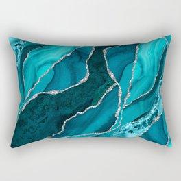 Ocean Waves Marble Teal Rectangular Pillow