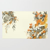 japanese Area & Throw Rugs featuring fox in foliage by Teagan White