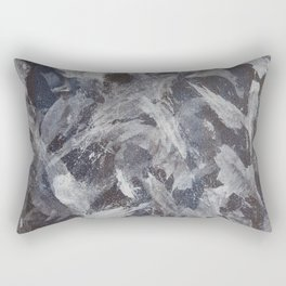 White Ink on Brown and Blue Background Rectangular Pillow