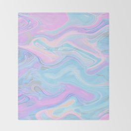 Sea Marble Candy Pattern - Violet, Aqua and Blue Throw Blanket