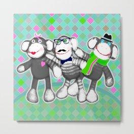 Sock Monkey Buddies Art Print   Metal Print