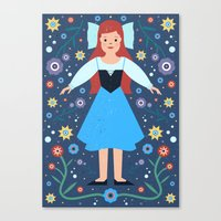 ariel Canvas Prints featuring Ariel by Carly Watts