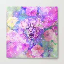 Space Cat | Girly Kitten Cat Romantic Floral Pink Nebula Space Metal Print