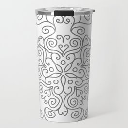 Gray Line Swirl Mandala Travel Mug