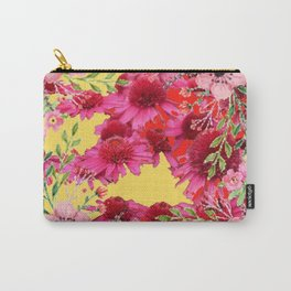 FUCHSIA-PINK FLOWERS YELLOW ART PATTERNS Carry-All Pouch