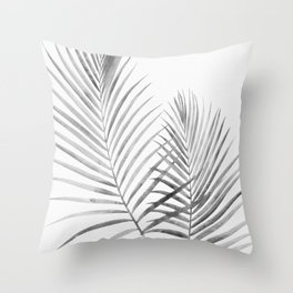 Black and White Palm Fronds Throw Pillow