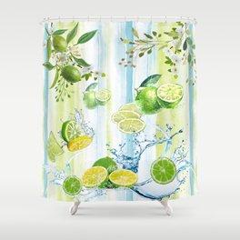 Tropical Lime Splash Shower Curtain