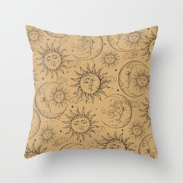 Tan Magic Celestial Sun Moon Stars Throw Pillow