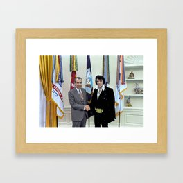 Richard M. Nixon and Elvis Presley at the White House, 1970. Framed Art Print