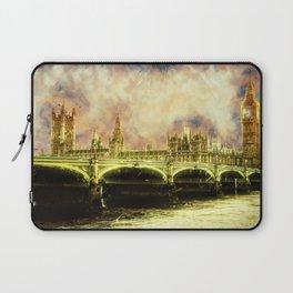 Abstract Golden Westminster Bridge in London Laptop Sleeve