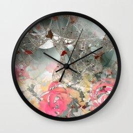 Misty rose garden Wall Clock