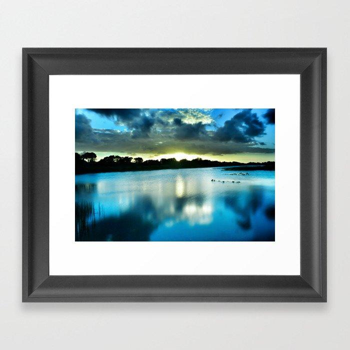 Electric Blue Glow Framed Art Print