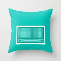 radio Throw Pillows featuring radio by brittcorry