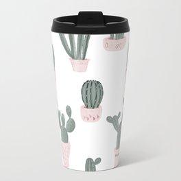 Elegant Cacti in Pots Pattern Travel Mug