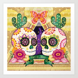 Sugar Skull Couple - Peace & Love Day of the Dead Skull Art by Thaneeya McArdle Art Print