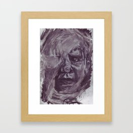 Baby face in charcoal. Framed Art Print