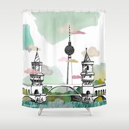 Oberbaum Brücke and TV Tower - Berlin - East/West boundary - East Side Gallery Shower Curtain