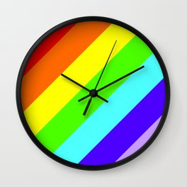 Stripes Diagonal Rainbow Wall Clock