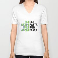 pasta V-neck T-shirts featuring Eat pasta run fasta by Thomas Official