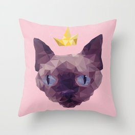 King Cat. Throw Pillow