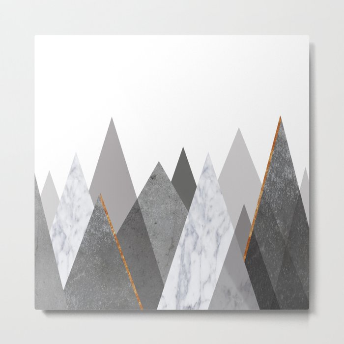 Marble Gray Copper Black and White Mountains Metal Print