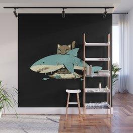 Cat Shark Funny Cat T-shirt  Wall Mural