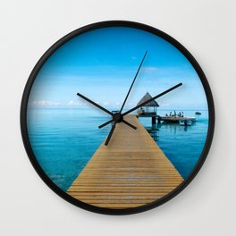 Tahiti Boat Dock Wall Clock