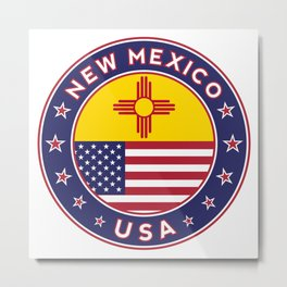 New Mexico, USA States, New Mexico t-shirt, New Mexico sticker, circle Metal Print